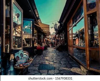 Sarajevo - Baščaršija old town  Small street with silversmith shops, old buildings