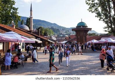 Sarajevo,Bosnia and Herzegovina - 08 august 2018 - Beautiful main town square and famous Bascarsija street in Sarajevo, capital city of Bosnia and Herzegovina.