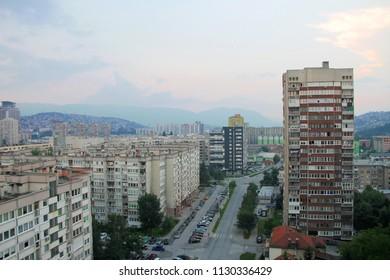 SARAJEVO-BOSNIA AND HERZEGOVINA-JULY 3 , 2018 : Aerial view of Sarajevo , Bosnia and Herzegovina