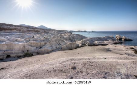 Sarakiniko beach: the moon-like scenic white rock formations in Milos island, Greece