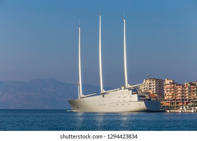 Saranda, Albania - 23 September 2018 - Sailing Yacht A, SYA, one of the biggest sailing yachts in the world anchored in the port of Saranda. Yacht belongs to the Russian billionaire Andrey Melnichenk