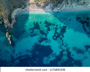 Saranda, Vlora / Albania - September/ 04 / 2018: Aerial beautiful turquoise beach in South Albania.