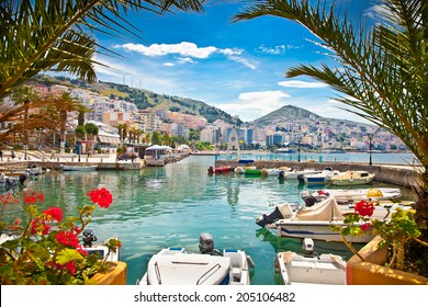 Saranda's city port  at ionian sea. Albania.