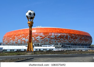 "SARANSK, RUSSIA - APRIL 04, 2018: Stadium ""Mordovia Arena"" for the 2018 World Cup"