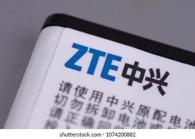 SARANSK, RUSSIA - APRIL 20, 2018: ZTE Corporation logo close-up.