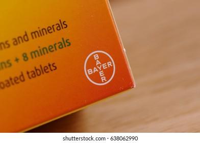 SARANSK, RUSSIA - APRIL 25, 2017: Bayer AG logo on a box.