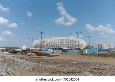 SARANSK, RUSSIA - AUGUST 22, 2017: Mordovia Arena football stadium under construction.
