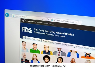 SARANSK, RUSSIA - December 12, 2015: A computer screen shows details of Food and Drug Administration (FDA or USFDA) main page on its web site.