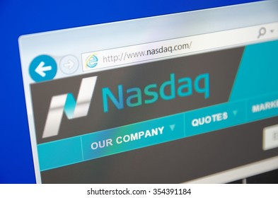 Saransk, Russia - December 20, 2015: A computer screen shows details of Nasdaq main page on its web site. Selective focus.