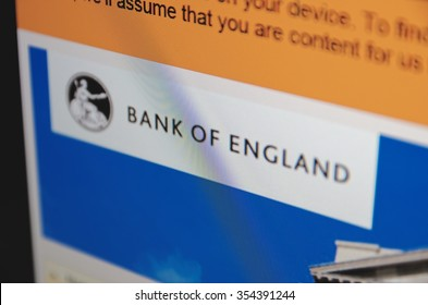 Saransk, Russia - December 20, 2015: A computer screen shows details of Bank of England main page on its web site in Saransk, Russia, on December 20 2015. Selective focus.