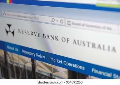 Saransk, Russia - December 20, 2015: A computer screen shows details of Reserve Bank of Australia main page on its web site. Selective focus.