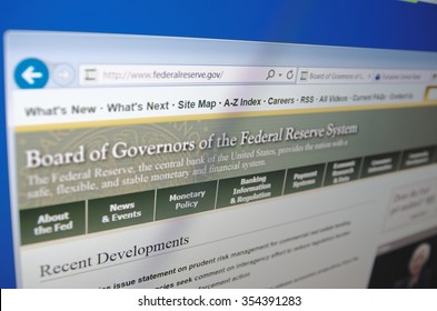 Saransk, Russia - December 20, 2015: A computer screen shows details of Federal Reserve System main page on its web site in Saransk, Russia, on December 20 2015. Selective focus.