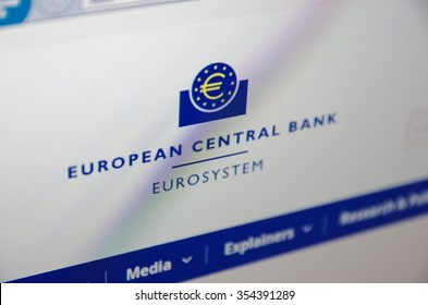 SARANSK, RUSSIA - December 20, 2015: A computer screen shows details of European Central Bank main page on its web site. Selective focus.