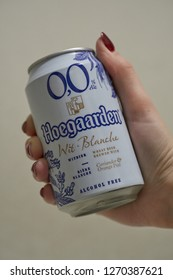 SARANSK, RUSSIA - DECEMBER 22, 2018: Hoegaarden 0,0 in the hand.