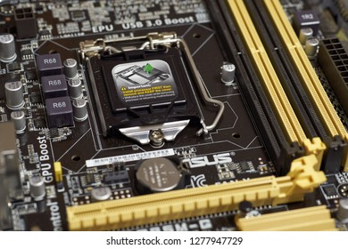 SARANSK, RUSSIA - DECEMBER 26, 2018: LGA 1150 microprocessor socket on motherboard.