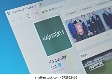 SARANSK, RUSSIA - FEBRUARY 06, 2017: A computer screen shows details of Kaspersky Lab page on Facebook web site. Selective focus.