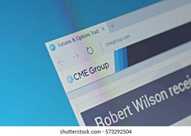 SARANSK, RUSSIA - FEBRUARY 06, 2017: A computer screen shows details of CME Group main page on its web site. Selective focus.