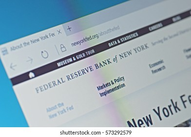 SARANSK, RUSSIA - FEBRUARY 06, 2017: A computer screen shows details of Federal Reserve Bank of New York main page on its web site. Selective focus.