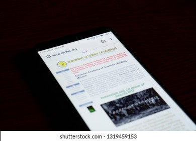 SARANSK, RUSSIA - FEBRUARY 10, 2019: A smartphone screen shows details of European Academy of Sciences (EurASc) home page on it's web site.