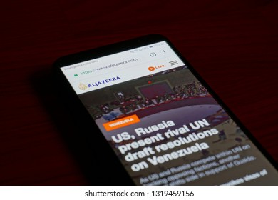 SARANSK, RUSSIA - FEBRUARY 10, 2019: A smartphone screen shows details of Al Jazeera home page on it's web site.