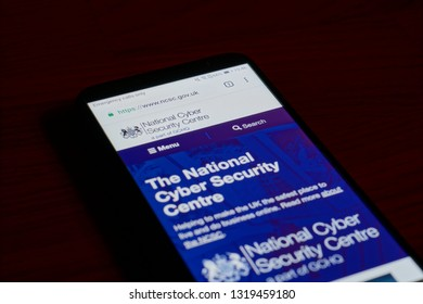 SARANSK, RUSSIA - FEBRUARY 10, 2019: A smartphone screen shows details of National Cyber Security Centre (NCSC) home page on it's web site.