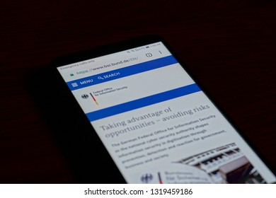 SARANSK, RUSSIA - FEBRUARY 10, 2019: A smartphone screen shows details of Federal Office for Information Security (BSI) home page on it's web site.