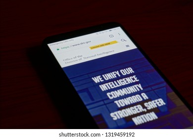 SARANSK, RUSSIA - FEBRUARY 10, 2019: A smartphone screen shows details of Director of National Intelligence (DNI) home page on it's web site.