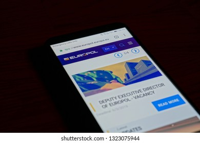 SARANSK, RUSSIA - FEBRUARY 10, 2019: A smartphone screen shows details of Europol home page on it's web site.