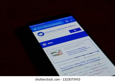 SARANSK, RUSSIA - FEBRUARY 10, 2019: A smartphone screen shows details of European Medicines Agency home page on it's web site.