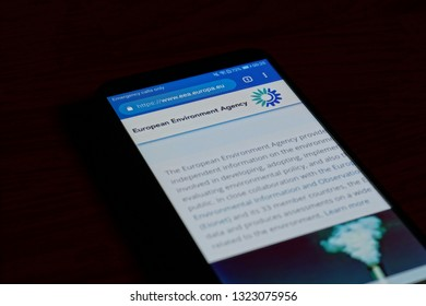 SARANSK, RUSSIA - FEBRUARY 10, 2019: A smartphone screen shows details of European Environment Agency home page on it's web site.