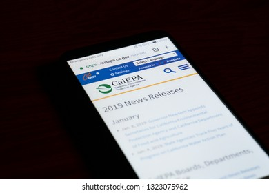 SARANSK, RUSSIA - FEBRUARY 10, 2019: A smartphone screen shows details of California Environmental Protection Agency home page on it's web site.