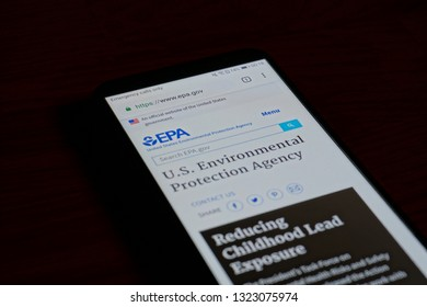 SARANSK, RUSSIA - FEBRUARY 10, 2019: A smartphone screen shows details of Environmental Protection Agency home page on it's web site.
