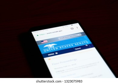 SARANSK, RUSSIA - FEBRUARY 10, 2019: A smartphone screen shows details of U.S. Senate home page on it's web site.