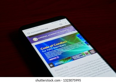 SARANSK, RUSSIA - FEBRUARY 10, 2019: A smartphone screen shows details of National Academy of Sciences home page on it's web site.