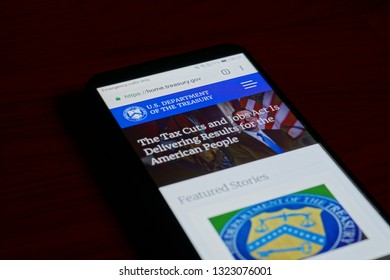 SARANSK, RUSSIA - FEBRUARY 10, 2019: A smartphone screen shows details of U.S. Department of the Treasury home page on it's web site.