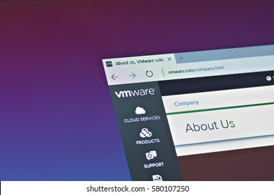 SARANSK, RUSSIA - FEBRUARY 15, 2017: A computer screen shows details of VMware About Us page on its web site. Selective focus.