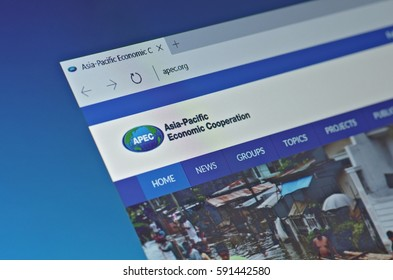SARANSK, RUSSIA - FEBRUARY 15, 2017: A computer screen shows details of Asia-Pacific Economic Cooperation main page on its web site. Selective focus.