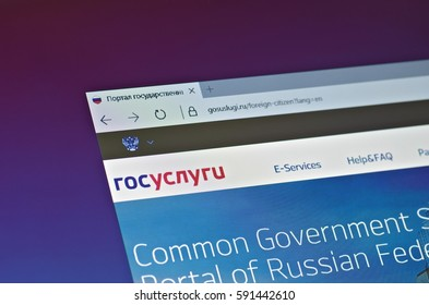 SARANSK, RUSSIA - FEBRUARY 15, 2017: A computer screen shows details of Gosuslugi.ru main page on its web site. Selective focus.