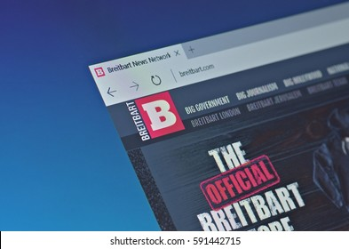 SARANSK, RUSSIA - FEBRUARY 15, 2017: A computer screen shows details of Breitbart News Network main page on its web site. Selective focus.