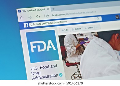 SARANSK, RUSSIA - FEBRUARY 15, 2017: A computer screen shows details of FDA page on Facebook web site. Selective focus.