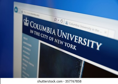 Saransk, Russia - January 03, 2016: A computer screen shows details of Columbia University main page on its web site in Saransk, Russia, on January 03, 2016. Selective focus.