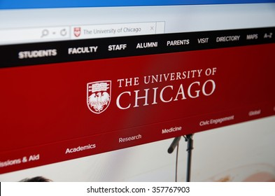 Saransk, Russia - January 03, 2016: A computer screen shows details of University of Chicago main page on its web site in Saransk, Russia, on January 03, 2016. Selective focus.