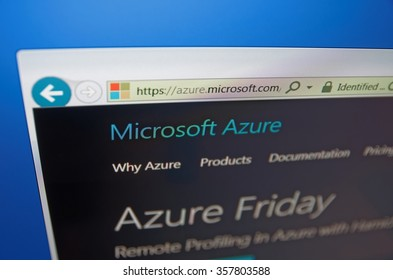 SARANSK, RUSSIA - JANUARY 03, 2016: A computer screen shows details of Microsoft Azure main page on its web site.