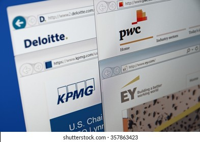 SARANSK, RUSSIA - JANUARY 03, 2016: A computer screen shows details of Big Four auditors main pages on its web sites.