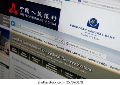 SARANSK, RUSSIA - JANUARY 03, 2016: A computer screen shows details of People's Bank, European Central Bank and Federal Reserve System main pages on its web sites.