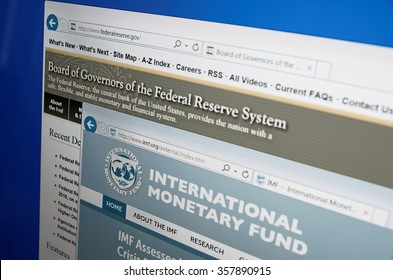 SARANSK, RUSSIA - JANUARY 03, 2016: A computer screen shows details of Federal Reserve System and International Monetary Fund main pages on its web sites.
