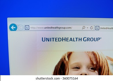 SARANSK, RUSSIA - JANUARY 08, 2016: A computer screen shows details of UnitedHealth Group main page on its web site.