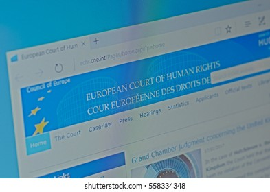 SARANSK, RUSSIA - JANUARY 17, 2017: A computer screen shows details of European Court of Human Rights main page on its web site. Selective focus.
