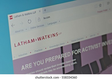SARANSK, RUSSIA - JANUARY 17, 2017: A computer screen shows details of Latham & Watkins main page on its web site. Selective focus.