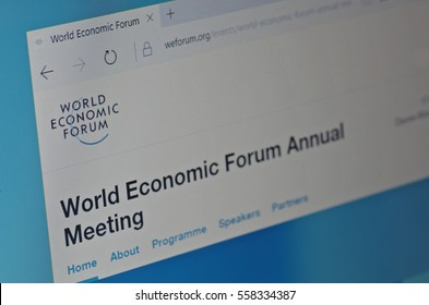 SARANSK, RUSSIA - JANUARY 17, 2017: A computer screen shows details of World Economic Forum main page on its web site. Selective focus.